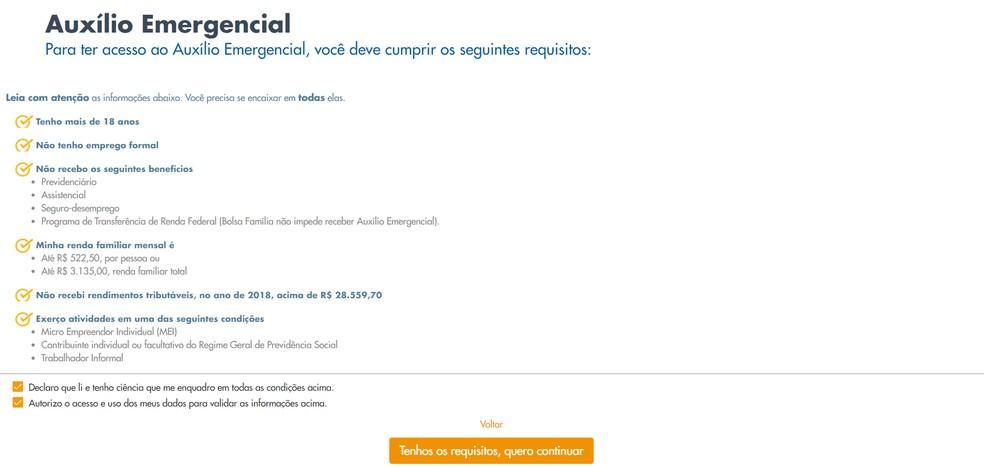 Página 2 do pedido de auxílio emergencial no site da Caixa — Foto: Reprodução