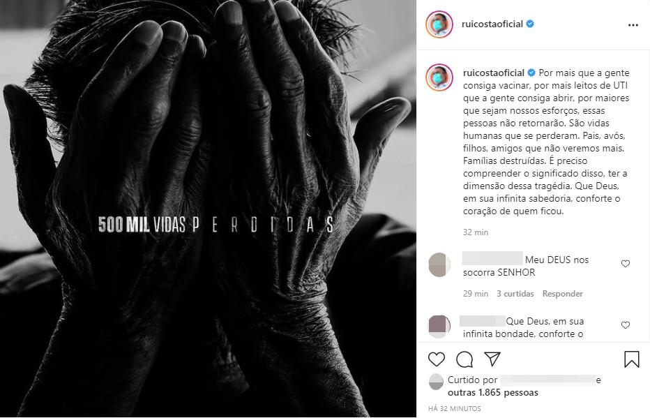Rui Costa faz postagem lamentando 500 mil mortos pela Covid-19 no Brasil: 'Famílias destruídas'