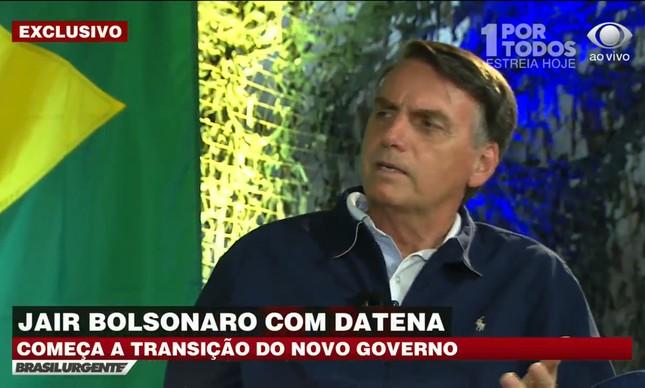 """Bolsonaro em entrevista à """"Band"""""""