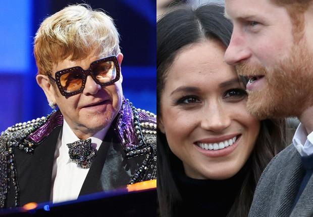 Elton John, Meghan Markle e príncipe Harry (Foto: Getty Images)