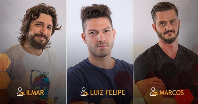 Paredão Triplo: Ilmar, Luiz Felipe e Marcos (Foto: Gshow)