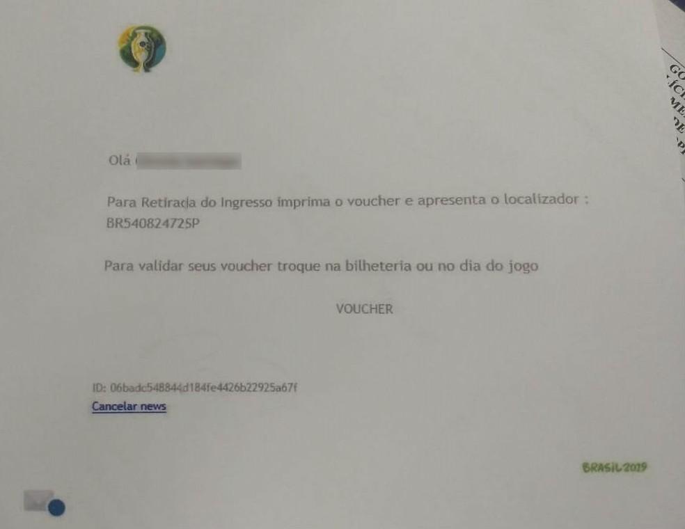 Reprodução do e-mail que era enviado às vítimas que compraram ingressos falsos para a Copa América  — Foto: PCDF/Divulgação