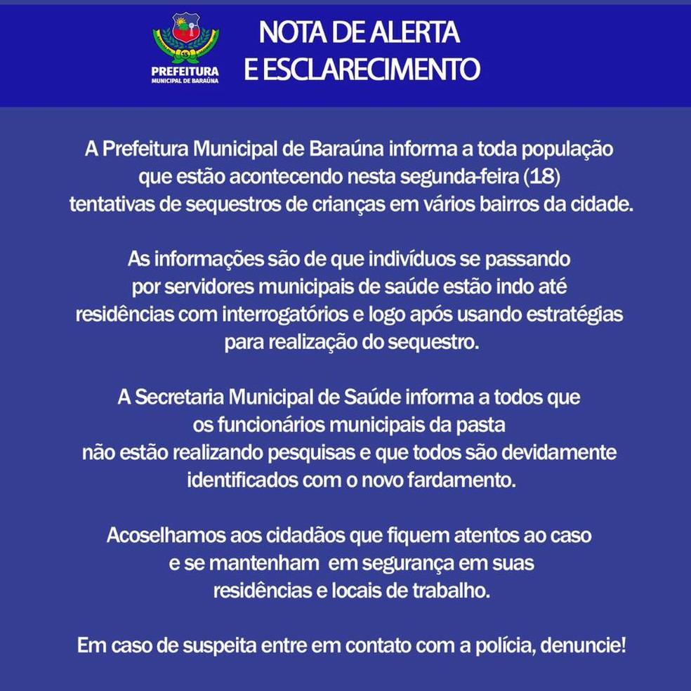 Prefeitura de Baraúna, RN, cai em boato de whatsapp sobre sequestro de crianças (Foto: Reprodução)