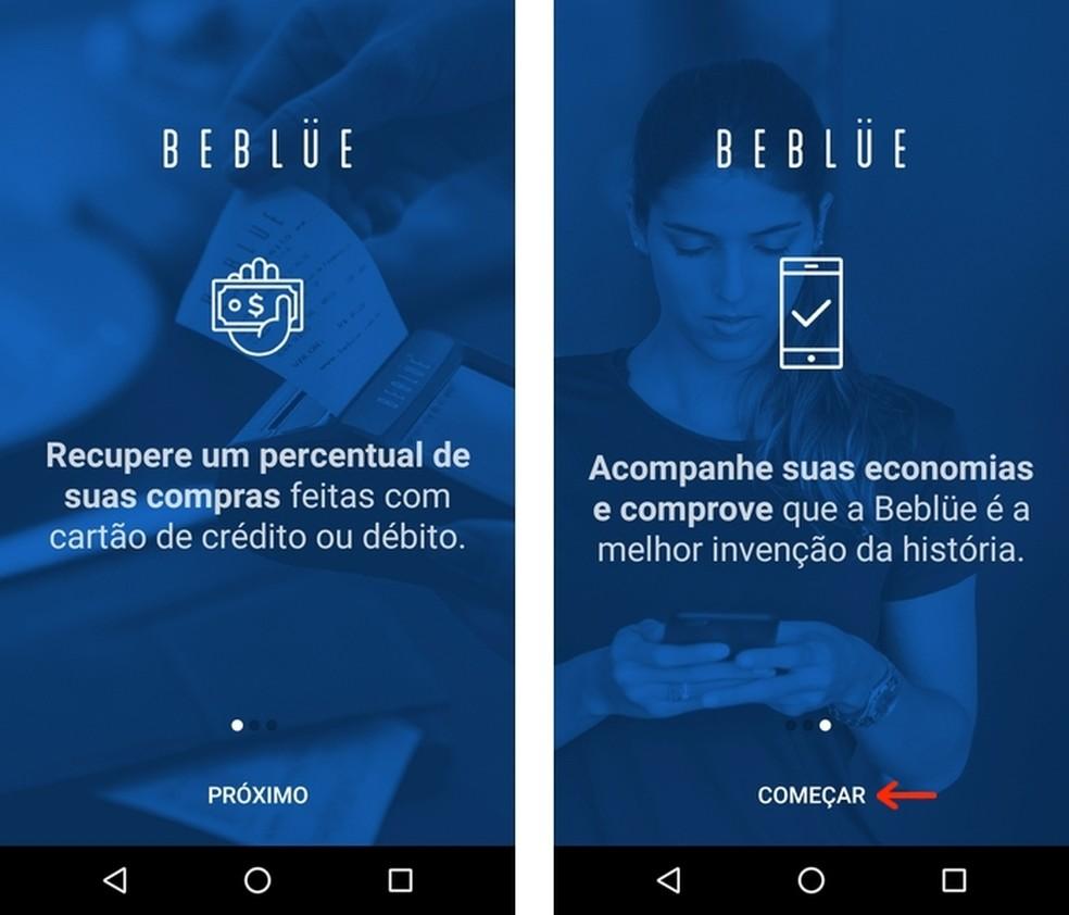 Telas de apresentação do Beblue — Foto: Reprodução/Raquel Freire