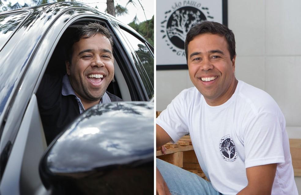 2016 e 2017: O pedagogo Roberto Leite era motorista de Uber em 2016 (à esquerda); um ano depois, ele começou um negócio próprio (direita) — Foto: Caio Kenji e Marcelo Brandt/G1