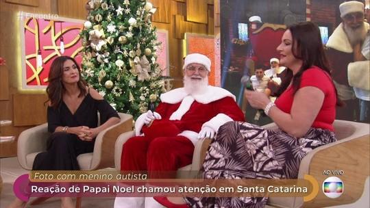 Papai Noel que se jogou no chão com autista participa do Encontro com Fátima Bernardes