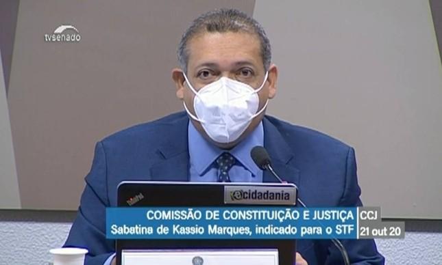O desembargador Kassio Nunes em sabatina na CCJ do Senado