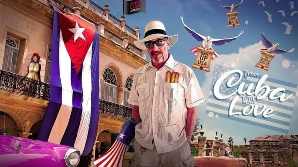 Cartaz de campanha para as eleições dos EUA que McAfee publicou em Cuba — Foto: Twitter/@officialmcafee