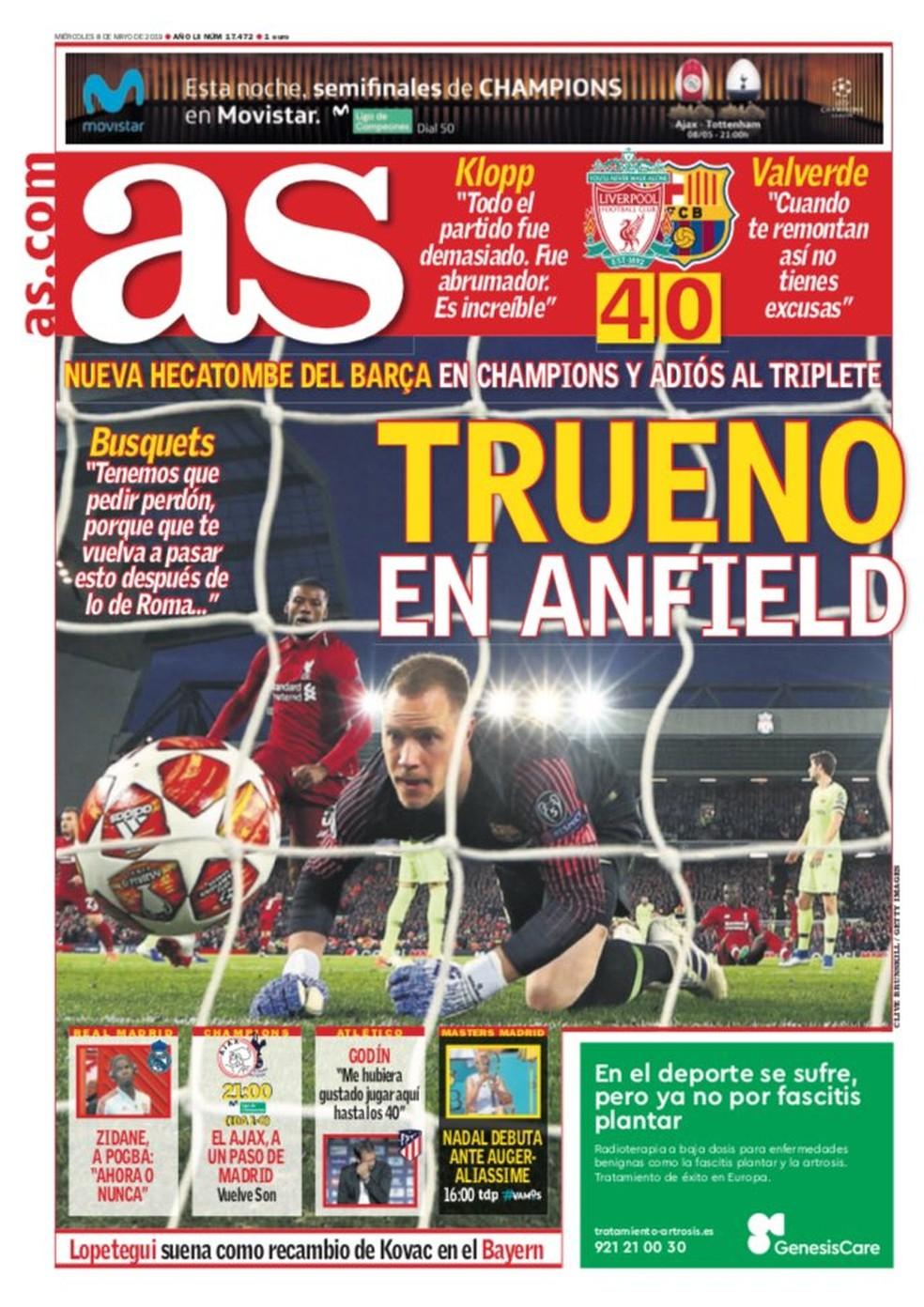 As Liverpool x Barcelona — Foto: Reprodução