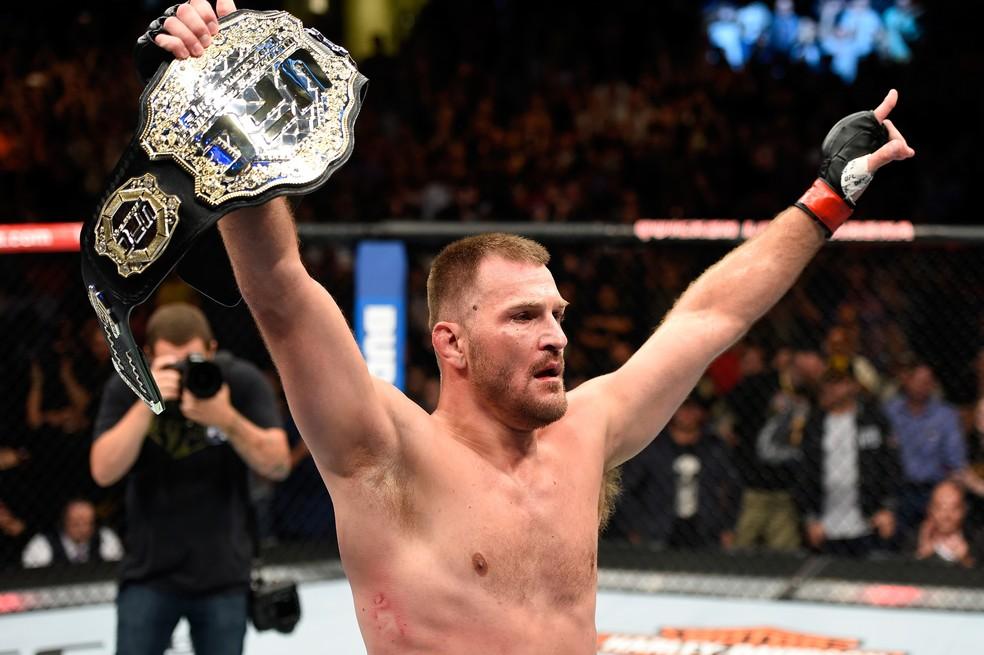 Stipe Miocic é recordista de defesas de cinturão consecutivas no peso-pesado do UFC — Foto: Getty Images