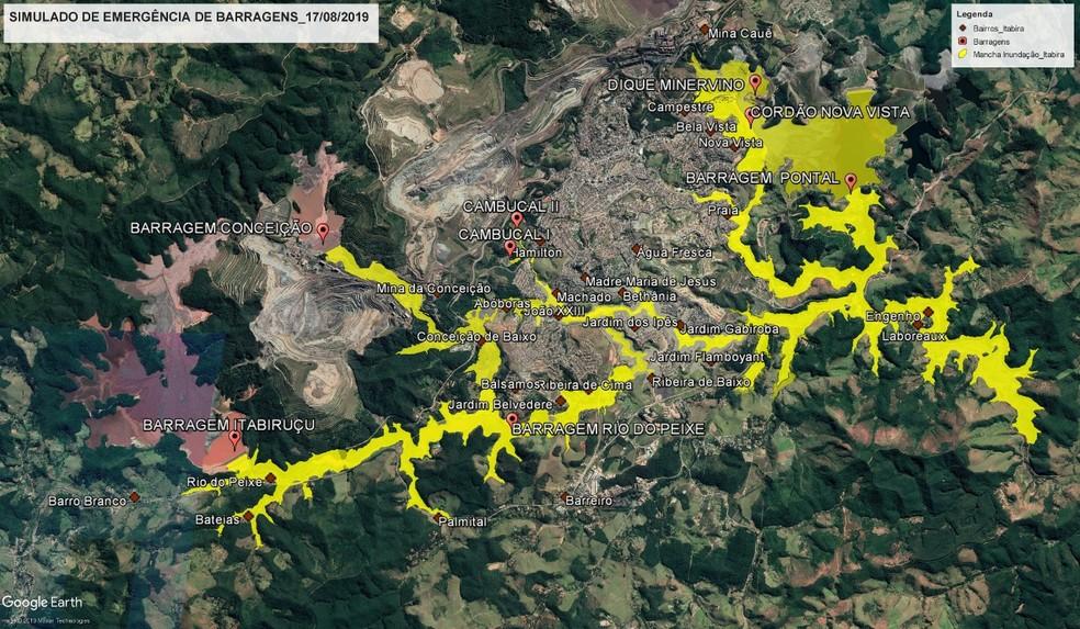 Itabira terá maior simulado de rompimento de barragens já realizado no Brasil neste sábado (17) — Foto: Reprodução/Defesa Civil