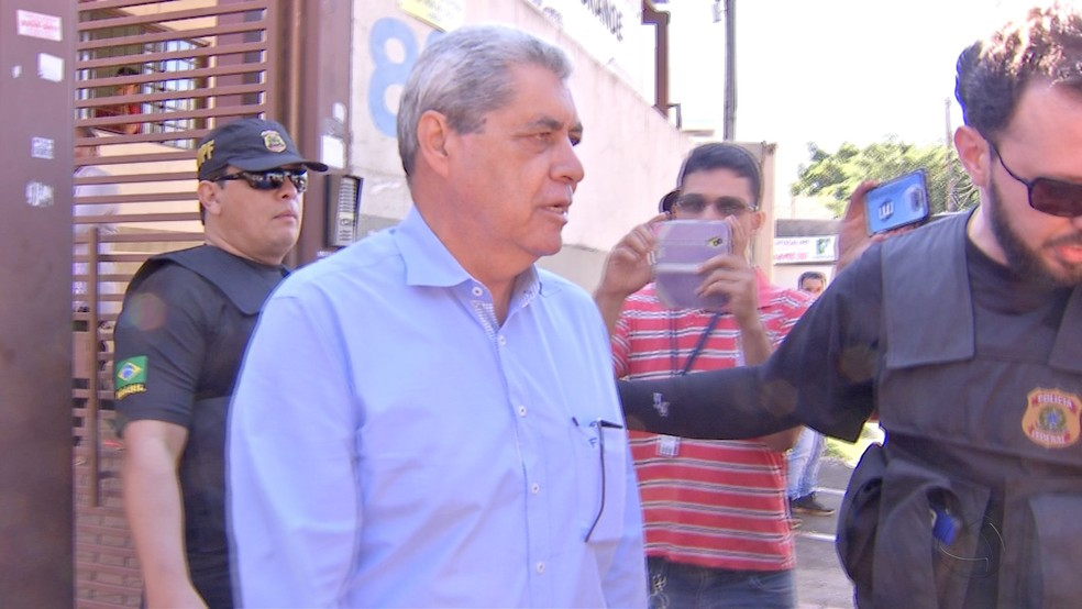 Ex-governador de MS André Puccinelli em prisão anterior (Foto: Reprodução/TV Morena - arquivo)