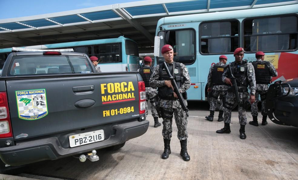 Força Nacional atuou na Segurança no Ceará durante a onda de ataques. — Foto: José Leomar/SVM