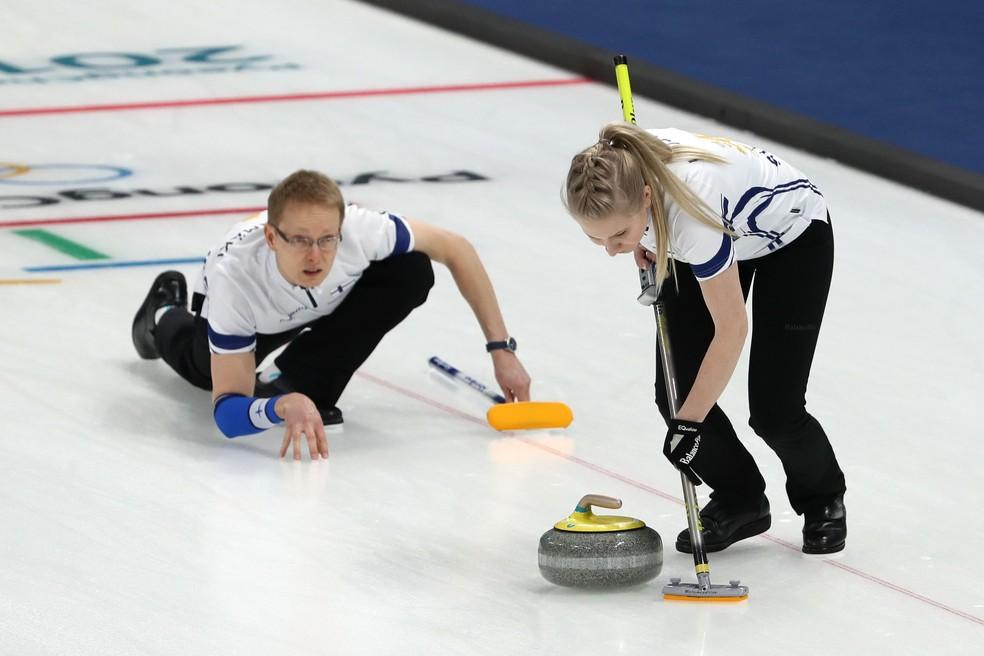 Seleção da Finlândia de curling (Foto: Robert Cianflone/Getty Images)