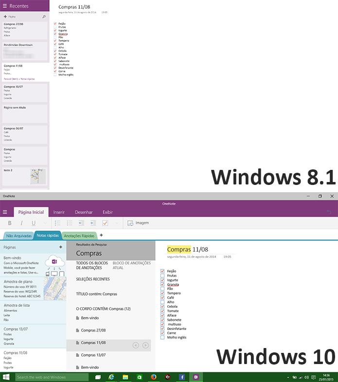 OneNote para Windows 10 foi completamente remodelado com design do novo Office (Foto: Reprodução/Elson de Souza)