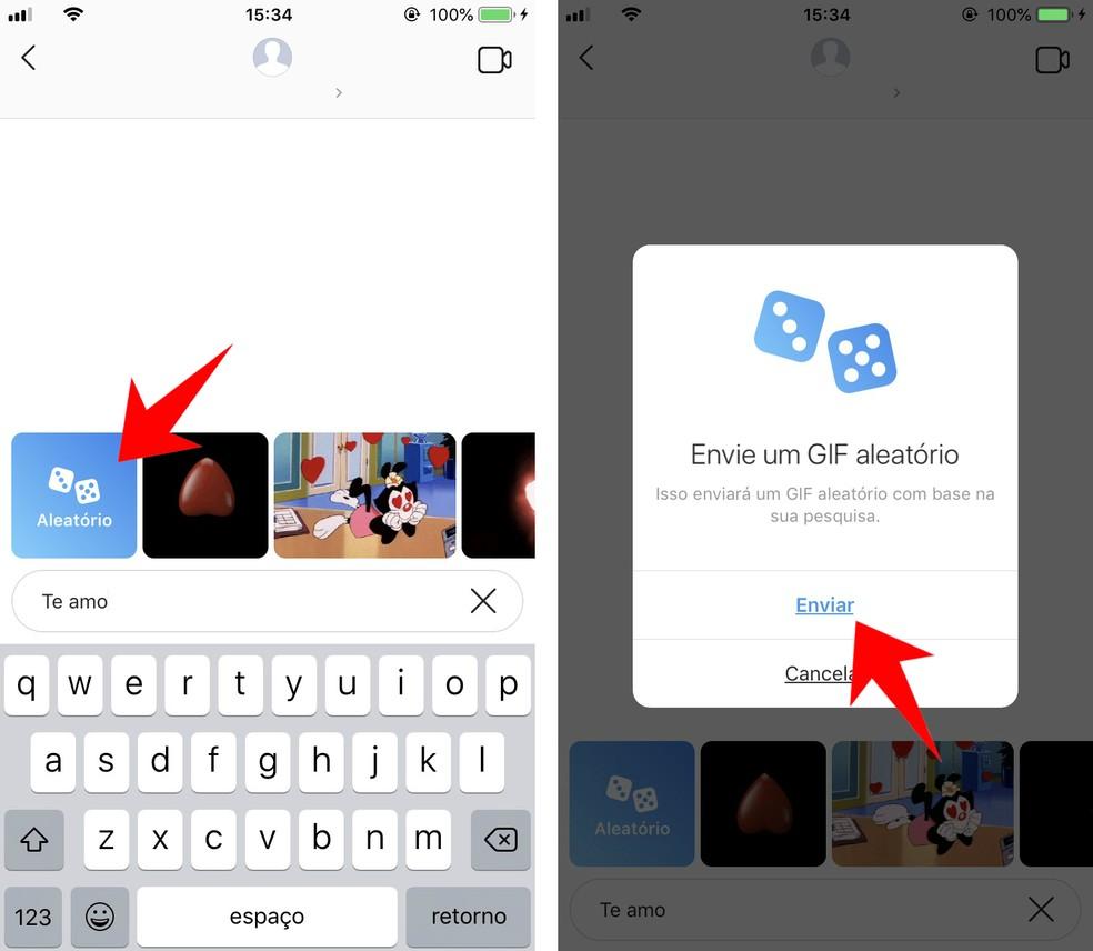Instagram envia GIF aleatório para os amigos nas mensagens diretas — Foto: Reprodução/Rodrigo Fernandes