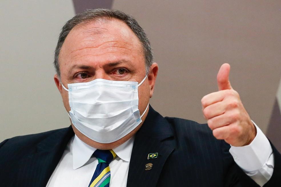 Pazuello durante depoimento para a CPI da Covid — Foto: Sergio Lima/AFP
