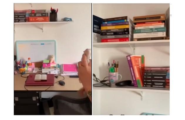 Cantinho em que Juliette, que também é maquiadora, guarda seus produtos e seus livros de Direito (Foto: Reprodução/Instagram)