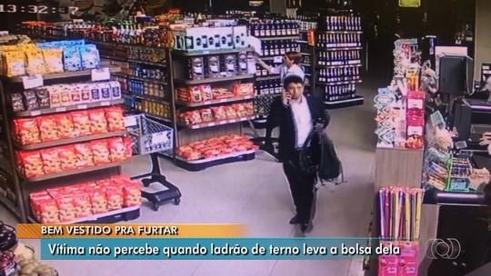 Homem de terno furta bolsa de cliente em restaurante de Goiânia; veja vídeo