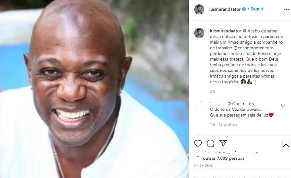Publicação do ator Luis Miranda — Foto: Reprodução/ Instagram
