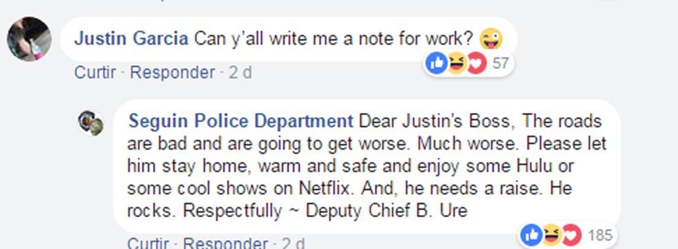 Com tempo ruim, polícia do Texas dá 'atestado' para empregado faltar ao trabalho (Foto: Reprodução Facebook)