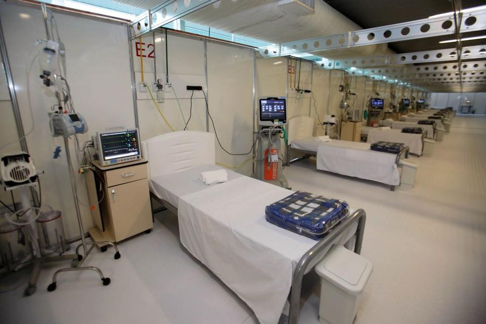 Hospital de Campanha de Belém, que funciona no Hangar Centro de Convenções. — Foto: Bruno Cecim/Agência Pará