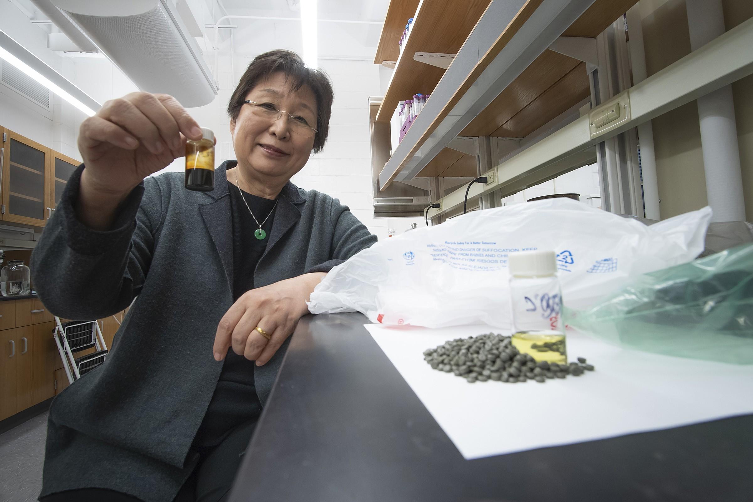 Engenheira química Linda Wang no laboratório em que transforma plástico em combustível.  (Foto: Purdue Research Foundation / Vincent Walter)