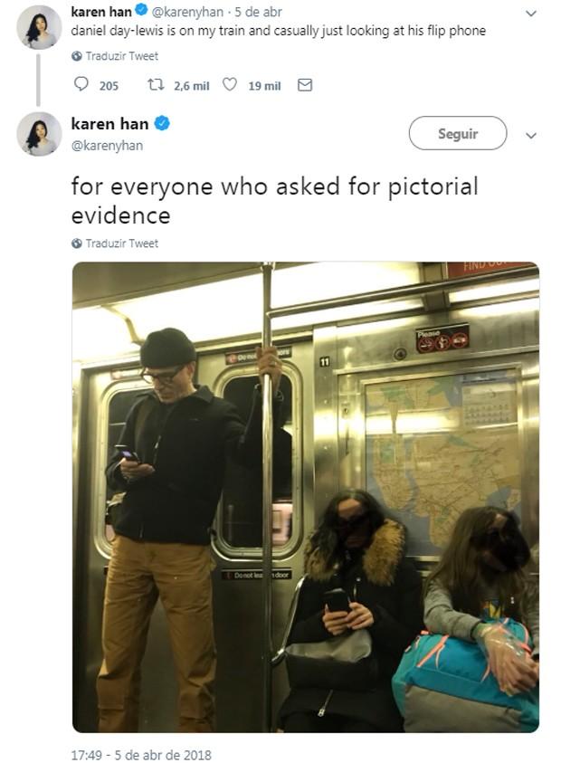 Daniel Day-Lewis em abril de 2018, no metrô de Nova York (Foto: Reprodução/Twitter)