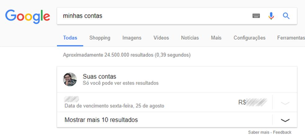 Busca pode informar contas em aberto do usuário (Foto: Reprodução/Google)