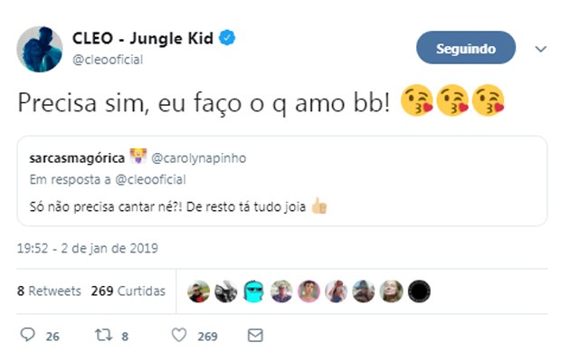 Cleo responde seguidor em rede social (Foto: Reprodução/Twitter)