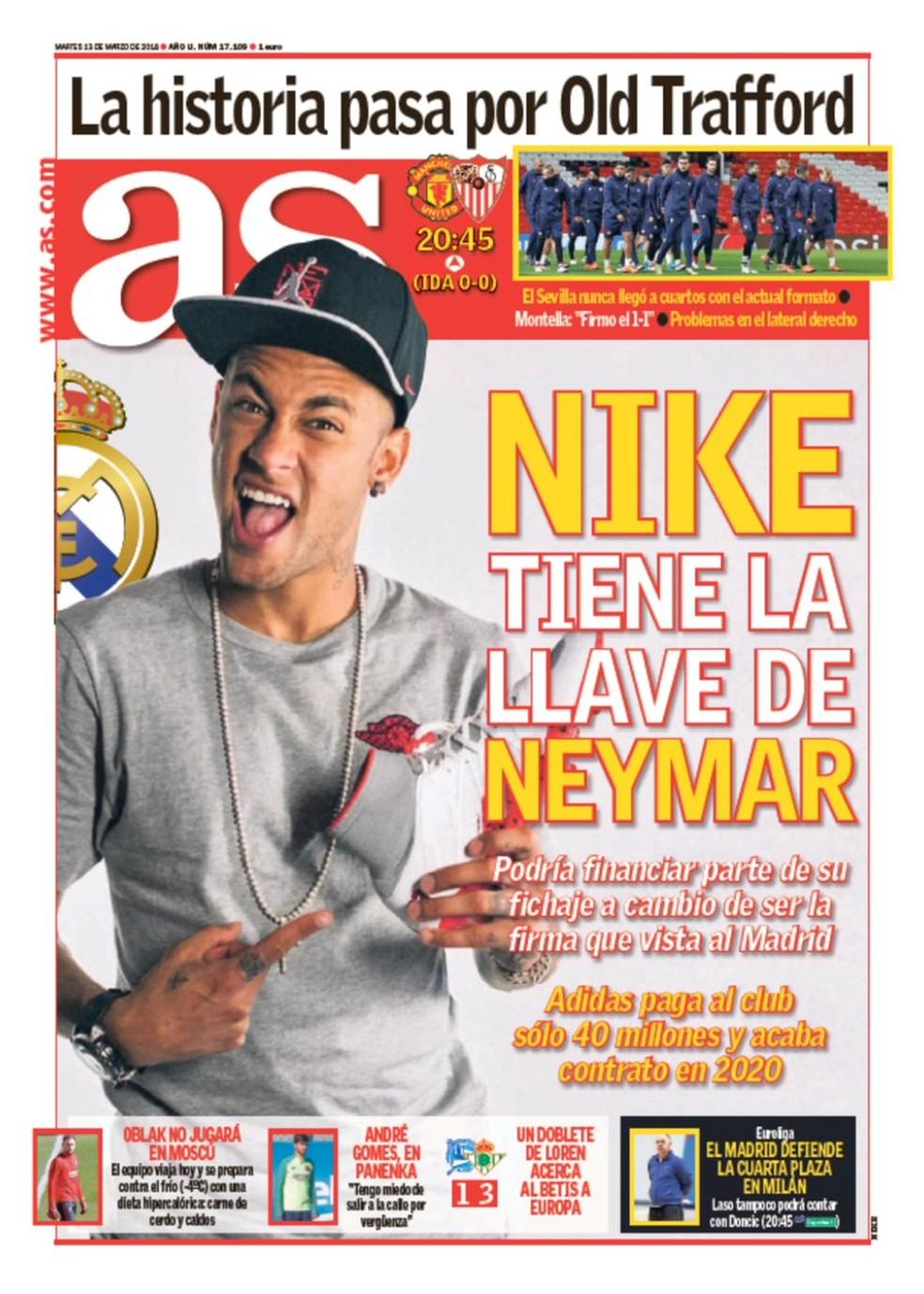 Possível ajuda da Nike ao Real é manchete no jornal AS (Foto: Reprodução / AS)
