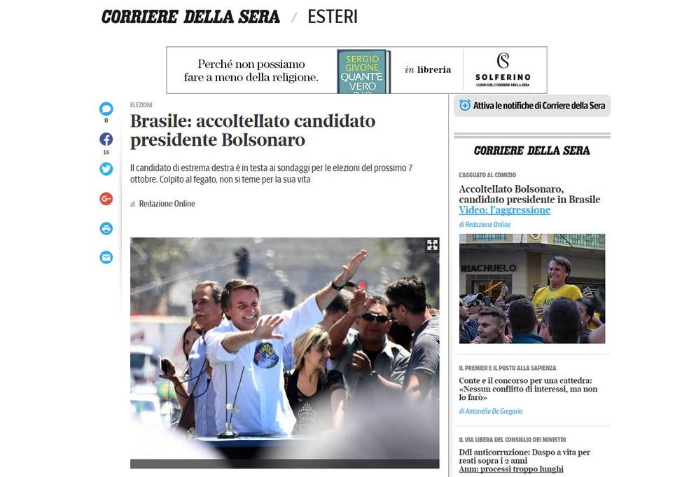Notícia também foi publicada pelo jornal italiano 'Corriere Della Sera' (Foto: Reprodução/Corriere Della Sera)