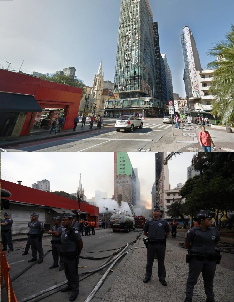 Policiais fazem barreira em rua na qual prédio desabou em SP; à esquerda, imóvel antes da tragédia (Foto: Reprodução/Google Maps e Marcelo Brandt/G1)