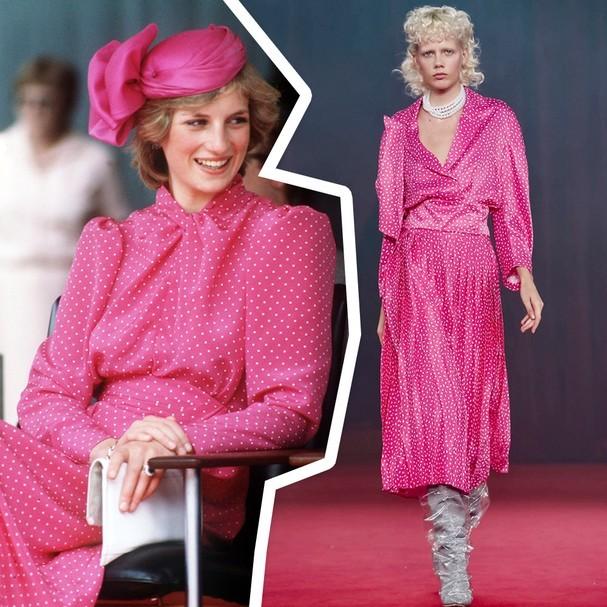 Olha como o vestido da Off-White poderia ser o mesmo que a Lady Diana usou (Foto: Reprodução)