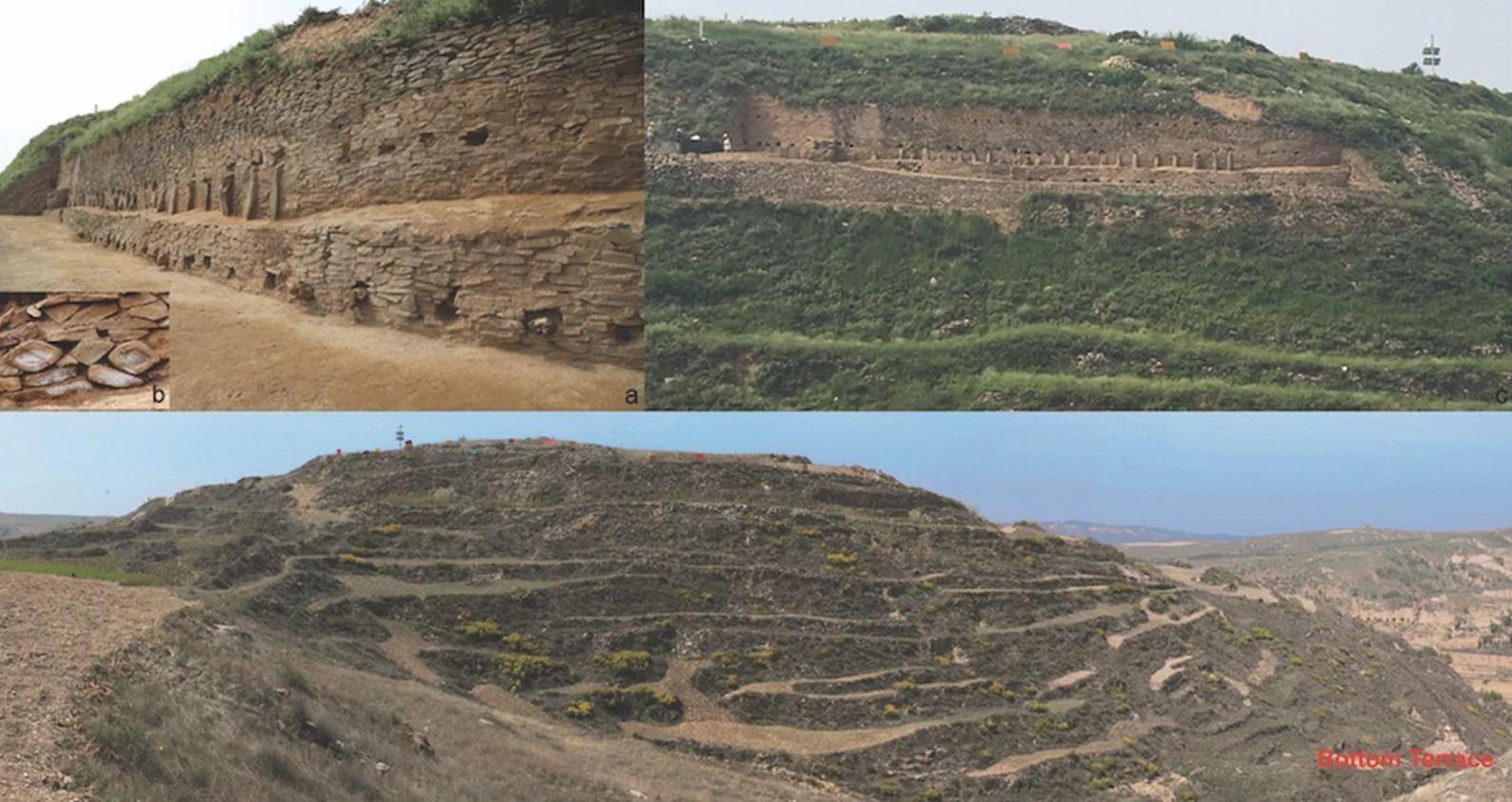Esta figura mostra imagens da pirâmide de degraus. a) parte dos muros de pedra do segundo e terceiro degraus da pirâmide; b) símbolos dos olhos que decoram a pirâmide c) uma vista dos muros sob escavação; d) uma visão geral da pirâmide antes da escavação. (Foto: Zhouyong Sun and Jing Shao)