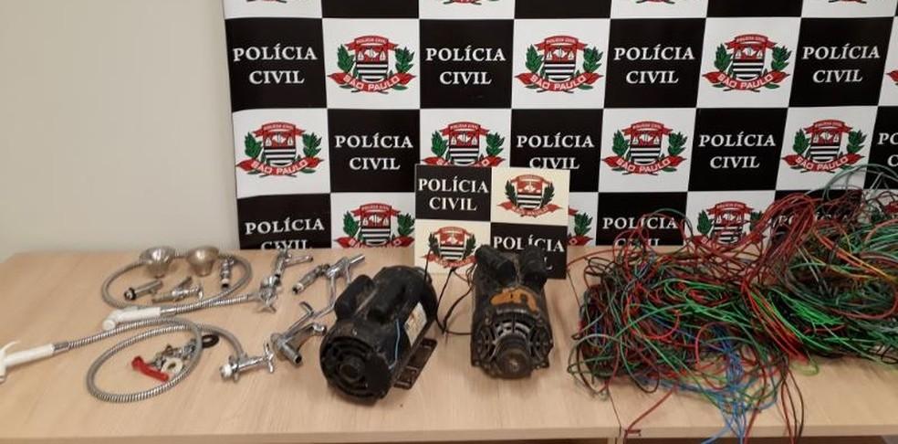 Objetos furtados de escola em Rio Preto — Foto: Divulgação/Polícia Civil