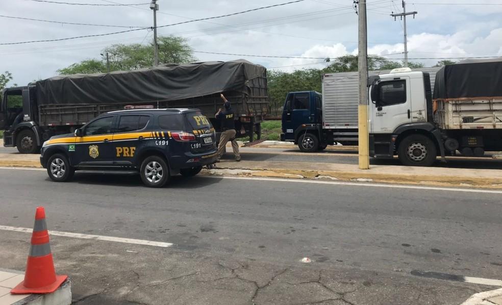 PRF autuou os três veículos sem nota fiscal (Foto: PRF/Divulgação)