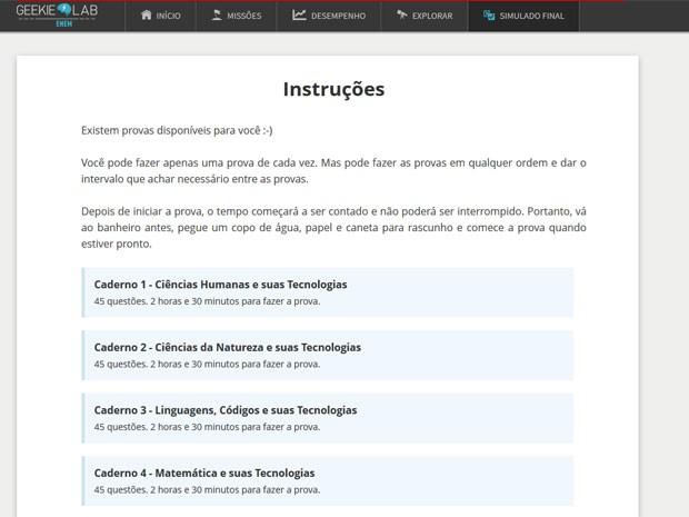 Candidato pode escolher uma das quatro áreas de conhecimento para começar o simulado (Foto: Reprodução/Geekie Games)