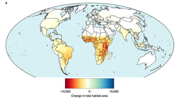 Projeção de mudanças no habitat causadas pela expansão da agricultura até 2050 (Foto: Williams & Clark et al 2020)