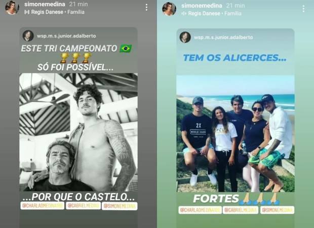 Simone Medina compartilhar posts em que ela e o marido são citados na vitória de Gabriel Medina (Foto: Reprodução/Instagram)