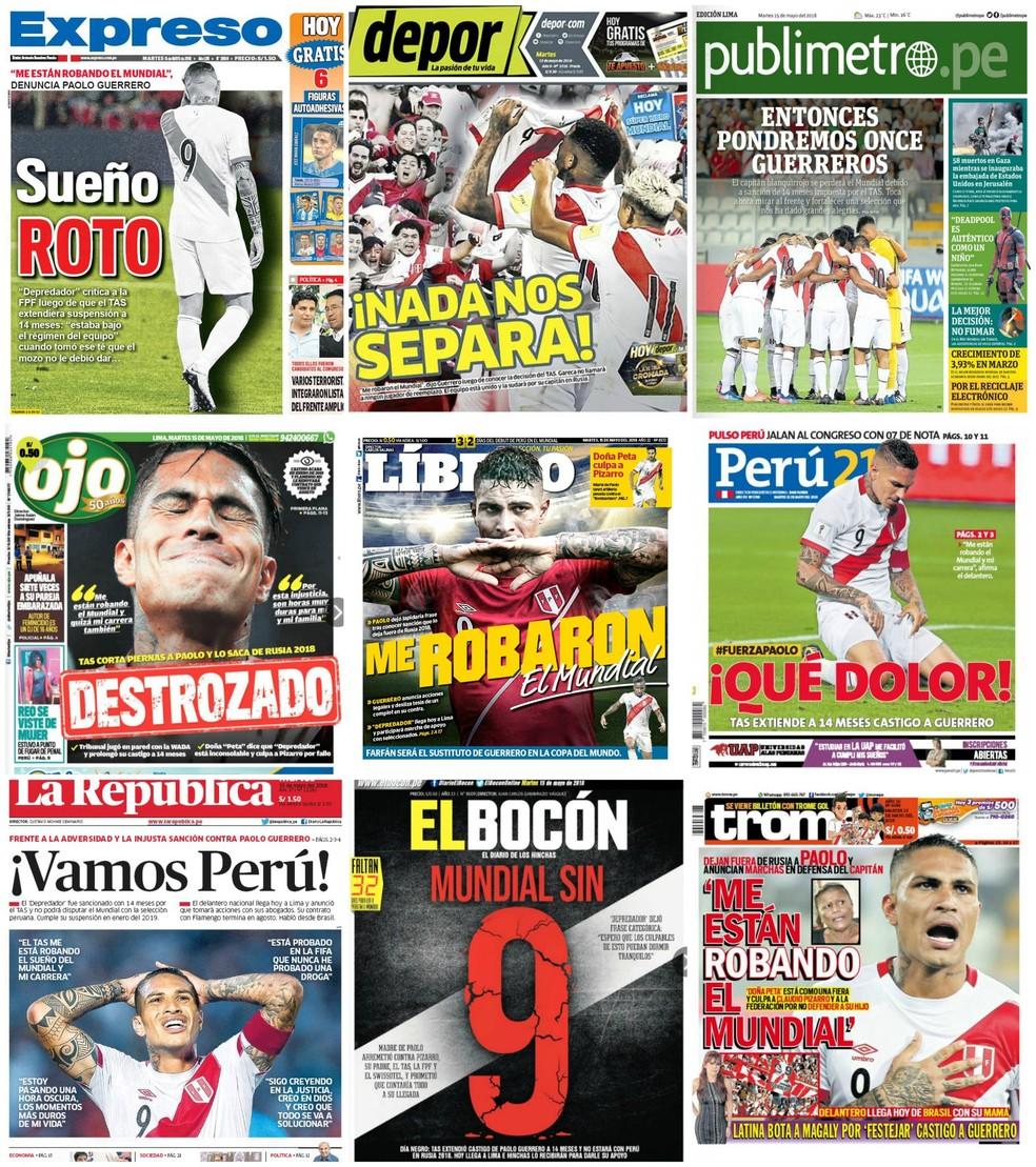 Capas dos jornais peruanos sobre Guerrero (Foto: twitter.com/futpapers)