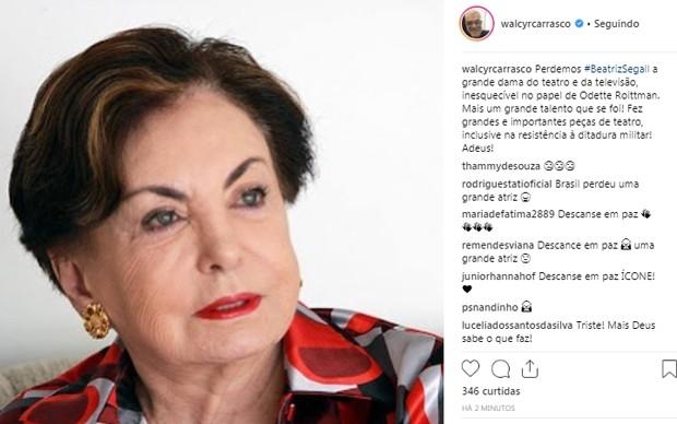 Famosos lamentam morte de Beatriz Segall (Foto: Reprodução/Instagram)