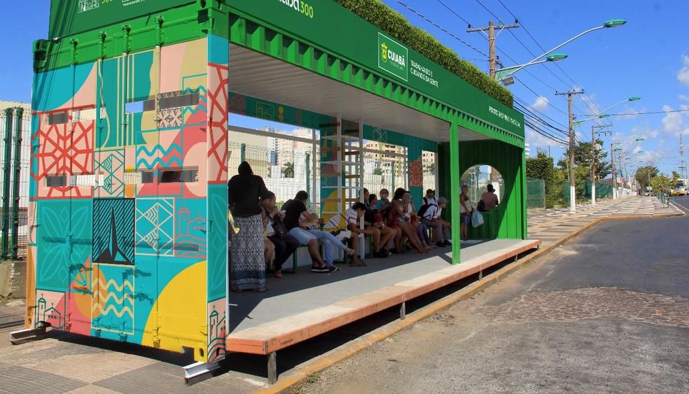 Pontos de ônibus usarão estrutura de conteinêires (Foto: Prefeitura de Cuiabá/ Divulgação)