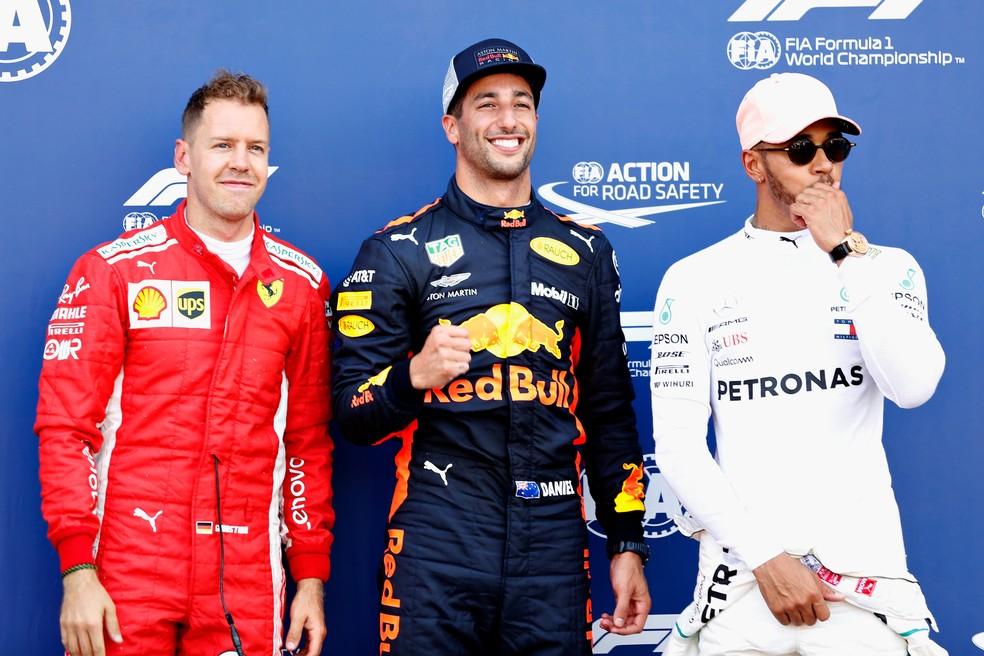 Vettel, Ricciardo e Hamilton, os três primeiros do grid em Mônaco (Foto: Getty Images)