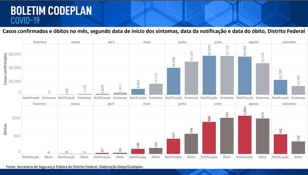 Gráfico de óbitos e casos de Covid-19 registrados por mês no DF — Foto: Codeplan/Reprodução