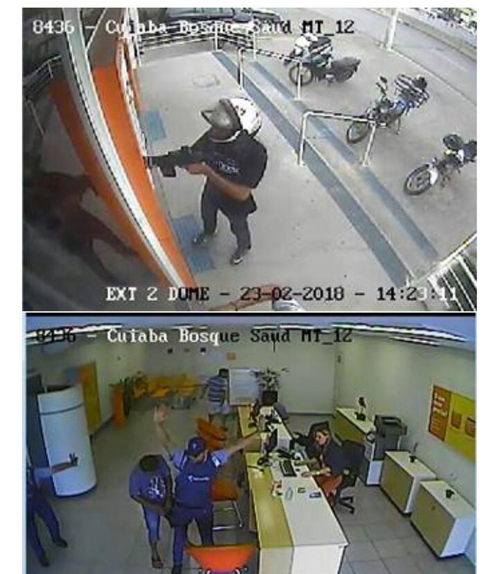 Imagens do circutito interno de segurança mostram a ação (Foto: PM-MT)