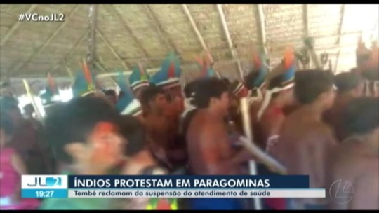 Indígenas Tembé protestam contra suspensão de serviços na Casa de Saúde Indígena em Paragominas, no PA