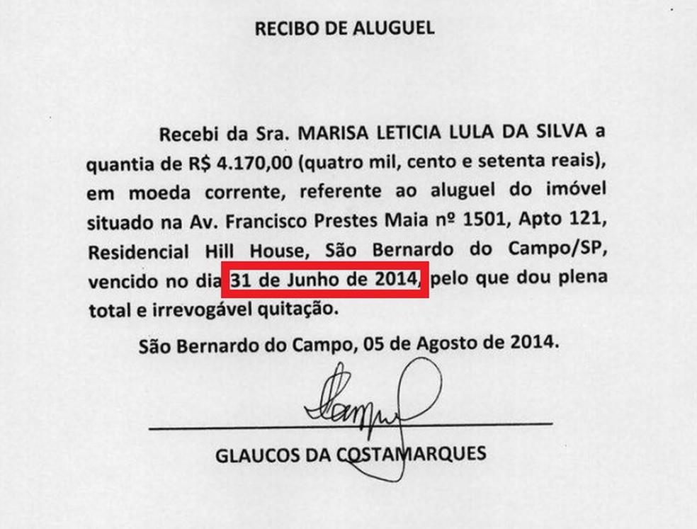 Documento diz que aluguel do apartamento venceu no dia 31 de junho de 2014 (Foto: Reprodução)