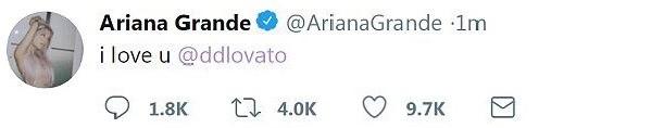 Ariana Grande também escreveu nas redes sociais para a amiga  (Foto: reprodução instagram)