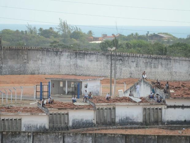 presos, detentos, penitenciária, presídio, Alcaçuz, rn, rio grande do norte (Foto: Fred Carvalho/G1)